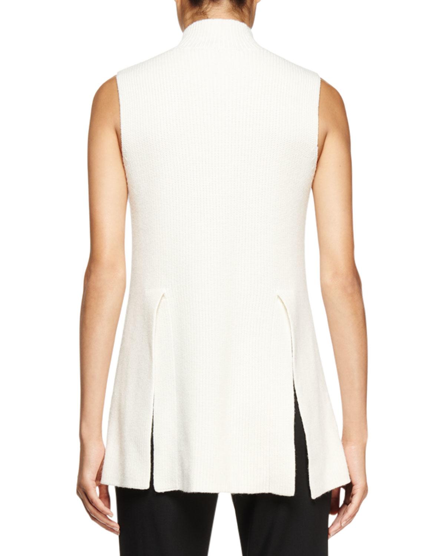 65d357f6c3dbc Lyst - Proenza Schouler Sleeveless Mock-neck Tunic Sweater in White