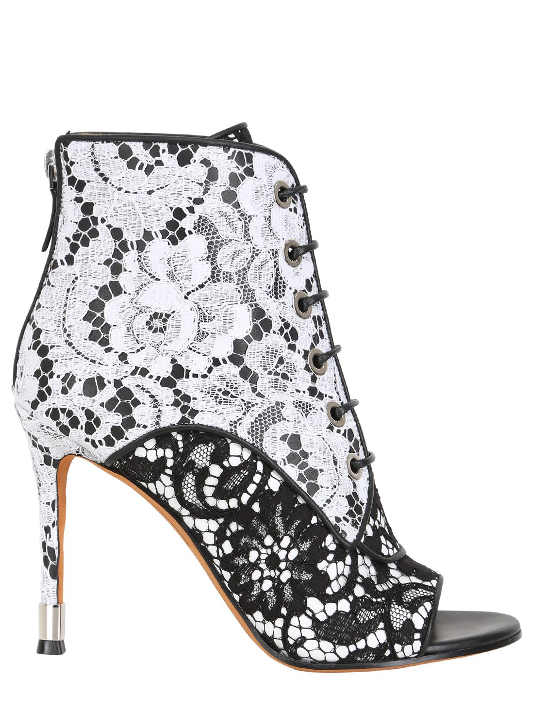 Givenchy 100mm Nappa Macramé Open Toe Boots in White/Black (Black)