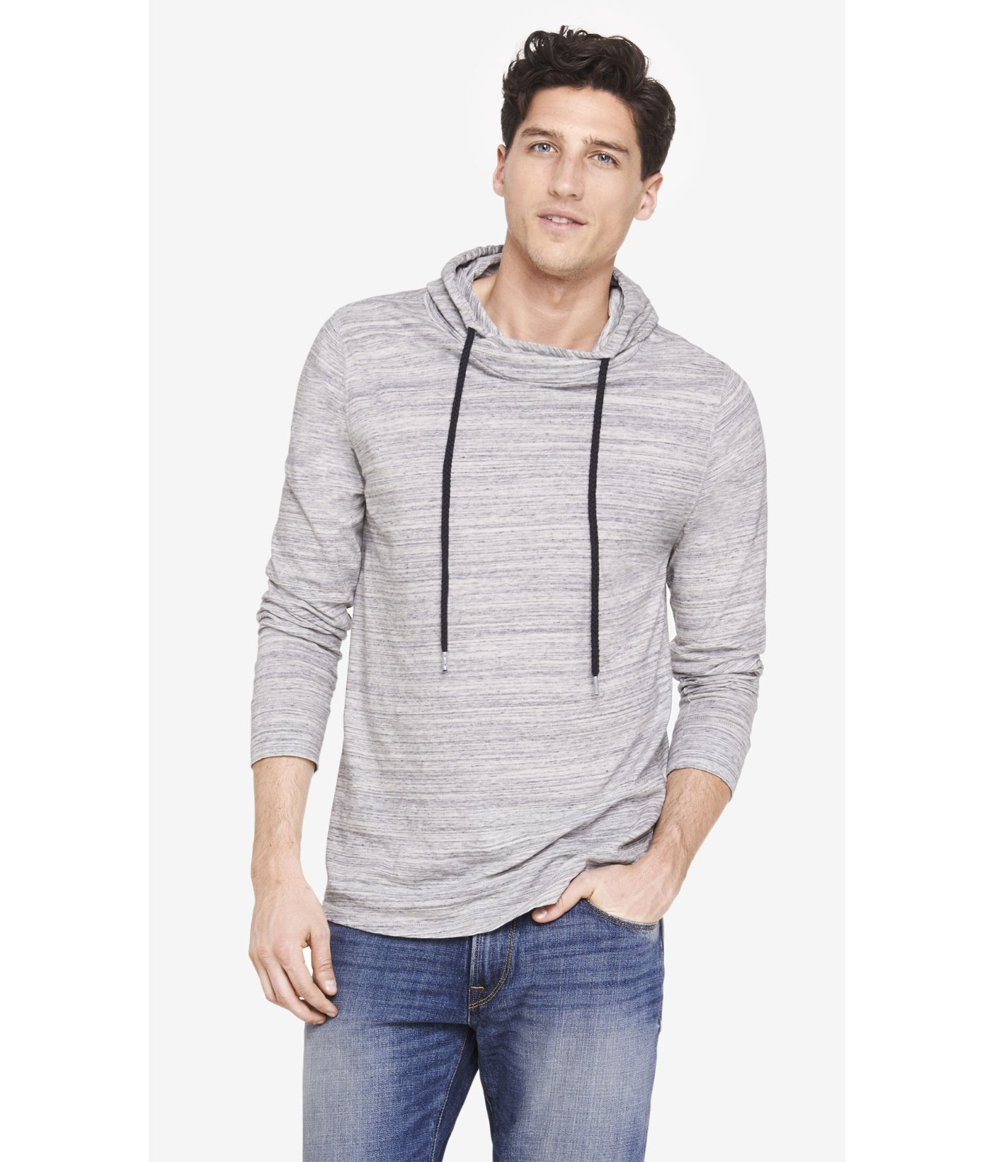 Express Space Dyed Crossover Neck Hoodie In Gray For Men Lyst