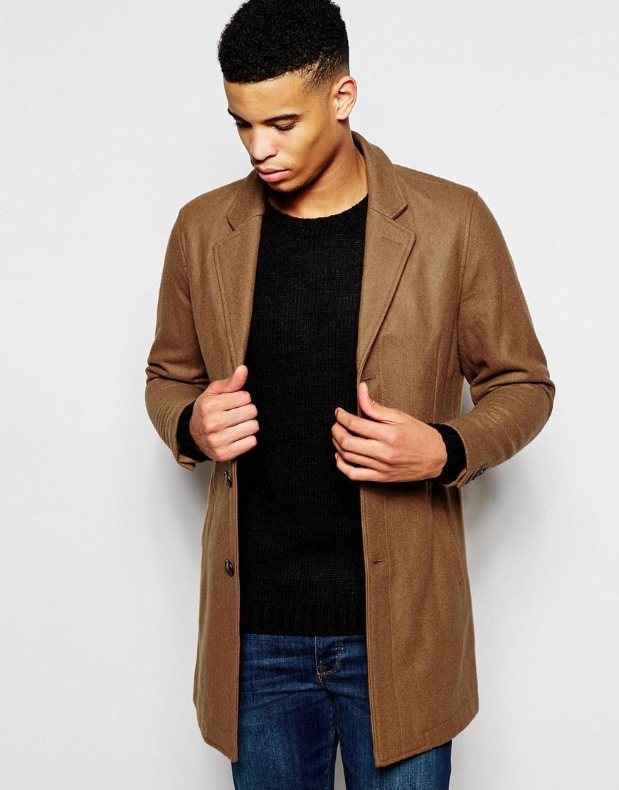 Pull&bear Camel Overcoat In Wool Blend in Brown for Men   Lyst
