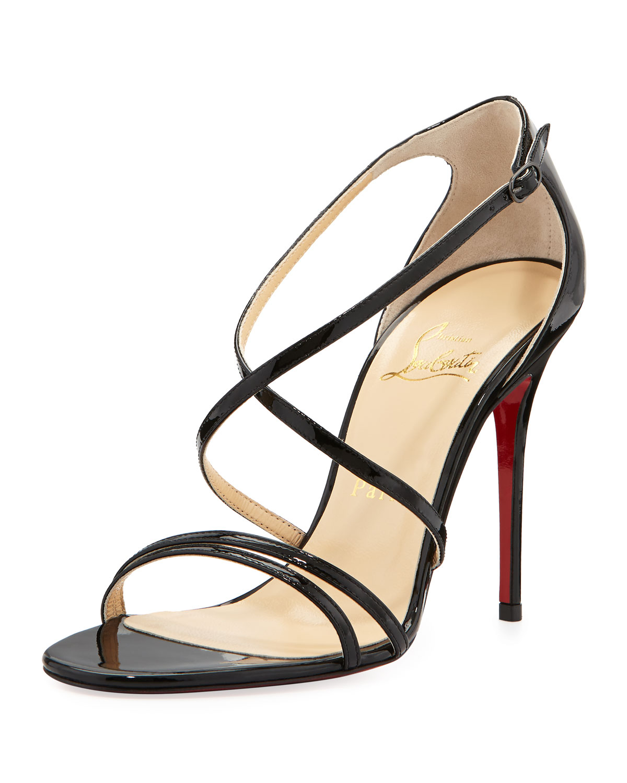 best service 5b150 743a0 cheapest louboutin black strappy sandals 6b0da 6585f