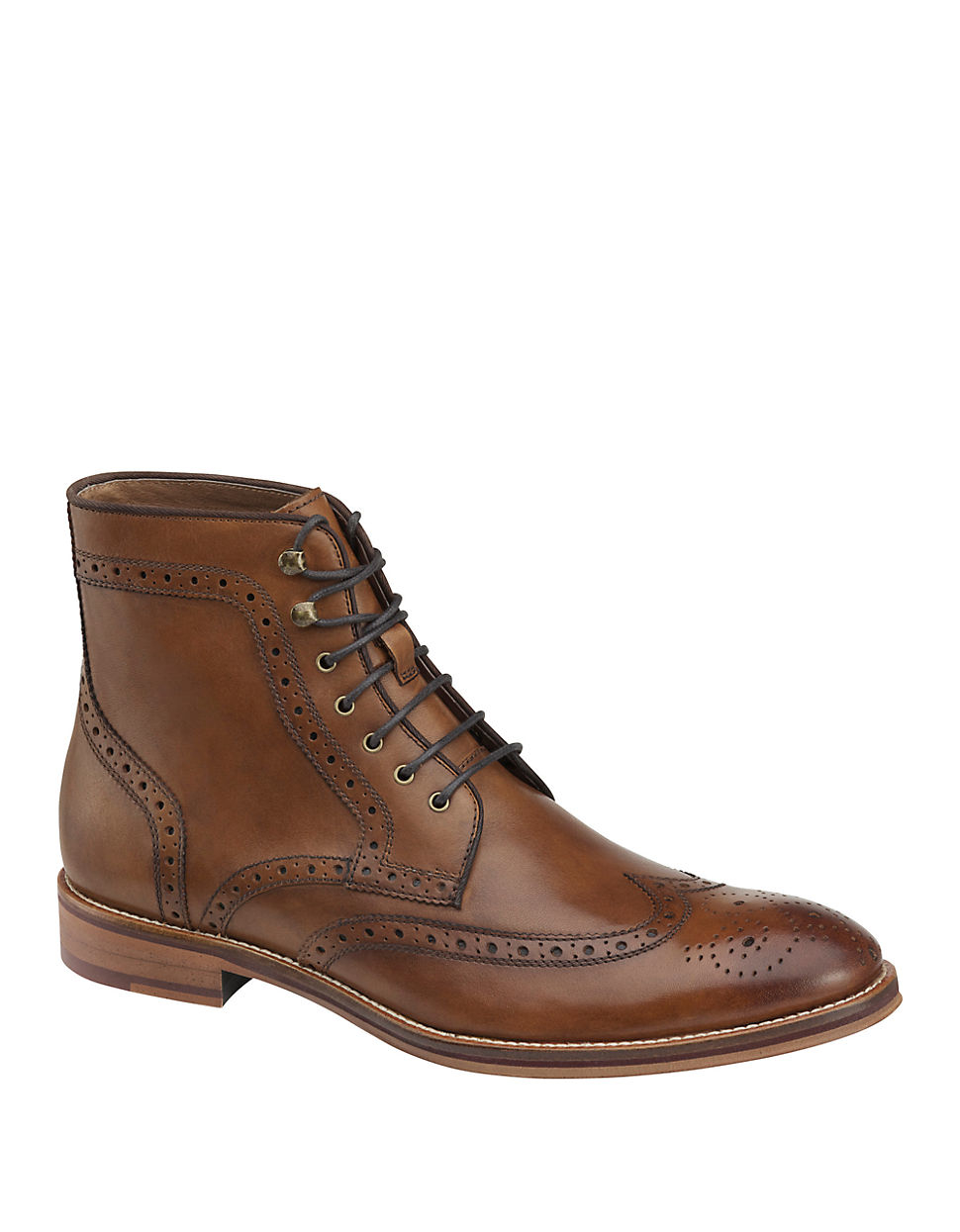 johnston murphy conard leather wingtip boots in brown