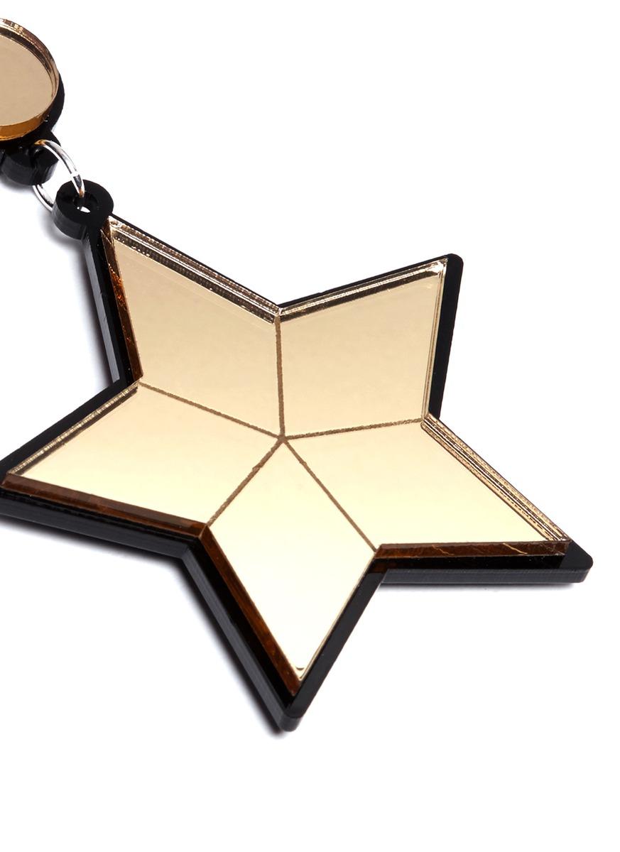 lyst yazbukey 39 superstar 39 plexiglas clip earrings in metallic. Black Bedroom Furniture Sets. Home Design Ideas