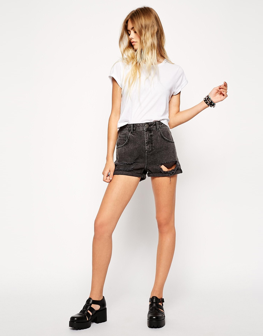 Asos Denim High Waist Mom Shorts In Washed Black With Rips in Gray ...