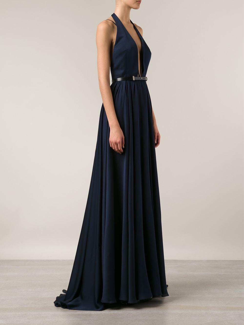 Lyst - Jason Wu Plunging V-Neck Silk Evening Dress in Blue