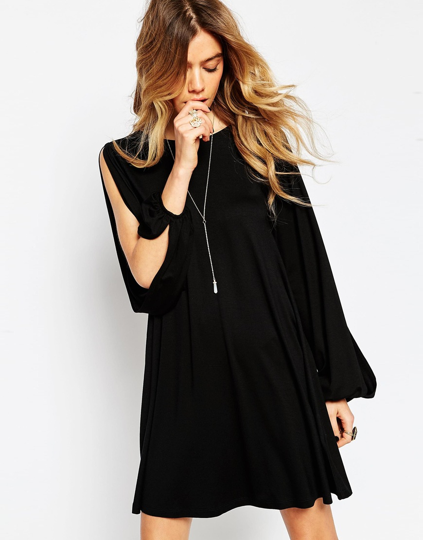 beef38ca6df2 Lyst - ASOS Swing Dress With Split Sleeve And Lace Up Back in Black