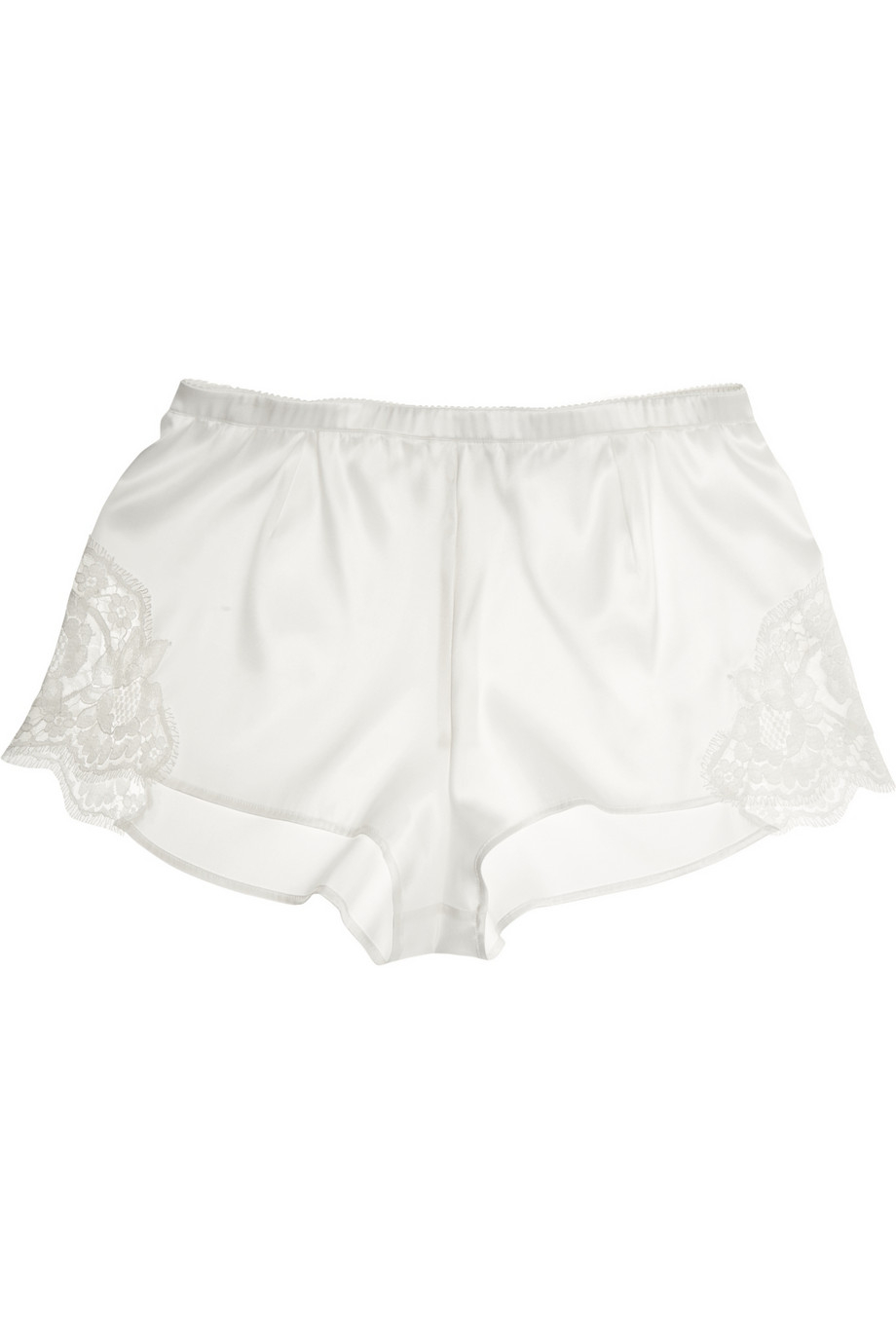 Dolce & gabbana Lace-Trimmed Stretch-Silk Satin Shorts in White | Lyst