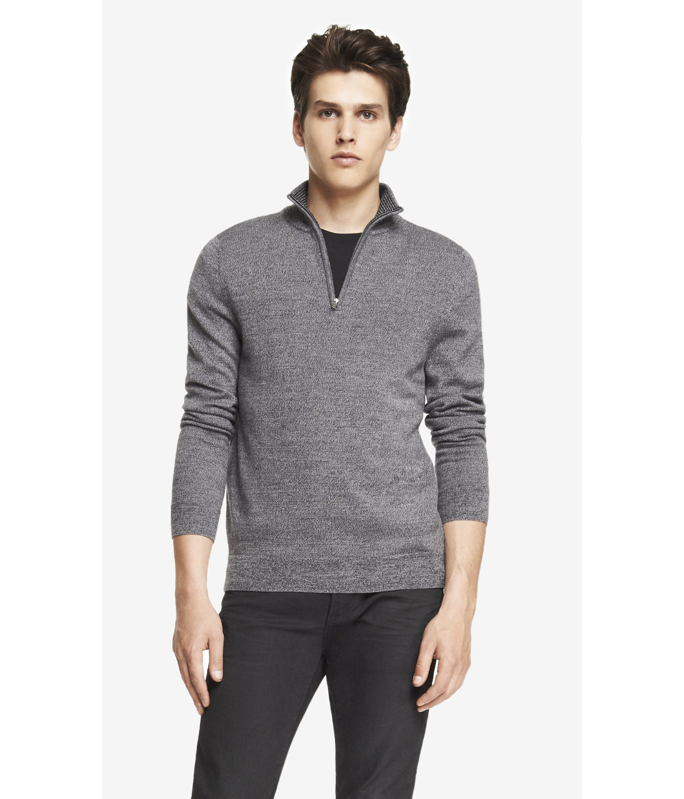 Merino Wool Zip Up Mock Neck Sweater 10