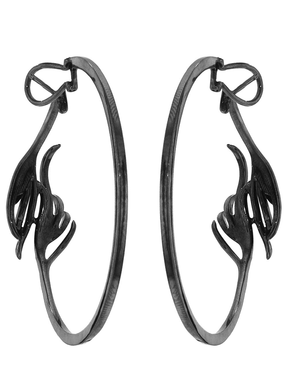 Arunashi Diamond Leaf Hoop Earring in Black
