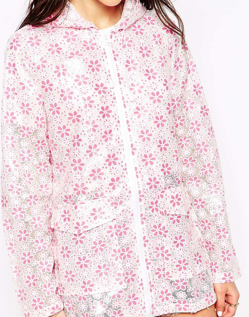 Lyst Brave Soul Floral Hooded Rain Trench In Pink