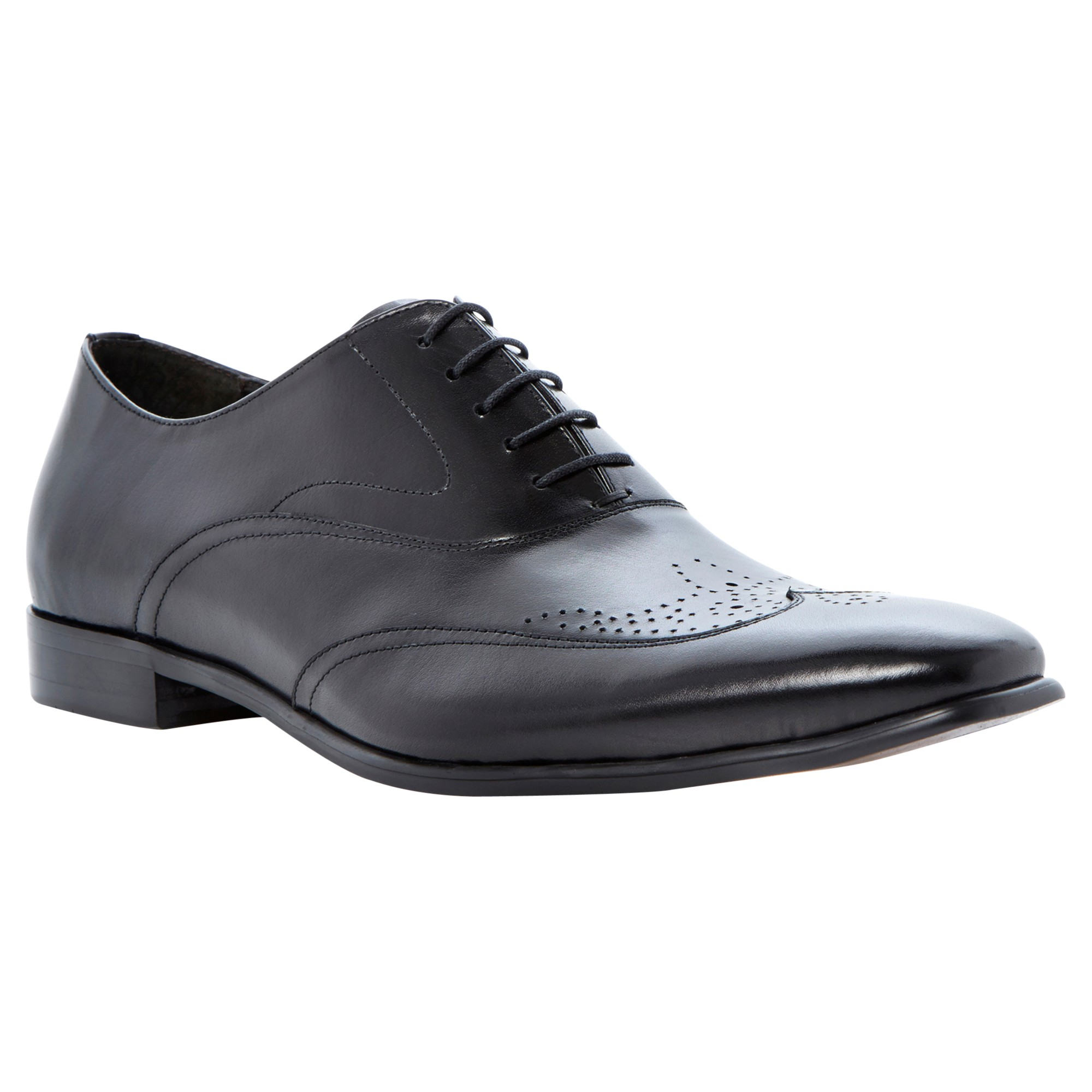 Dune Renegades Leather Brogue Monk Shoes in Black for Men