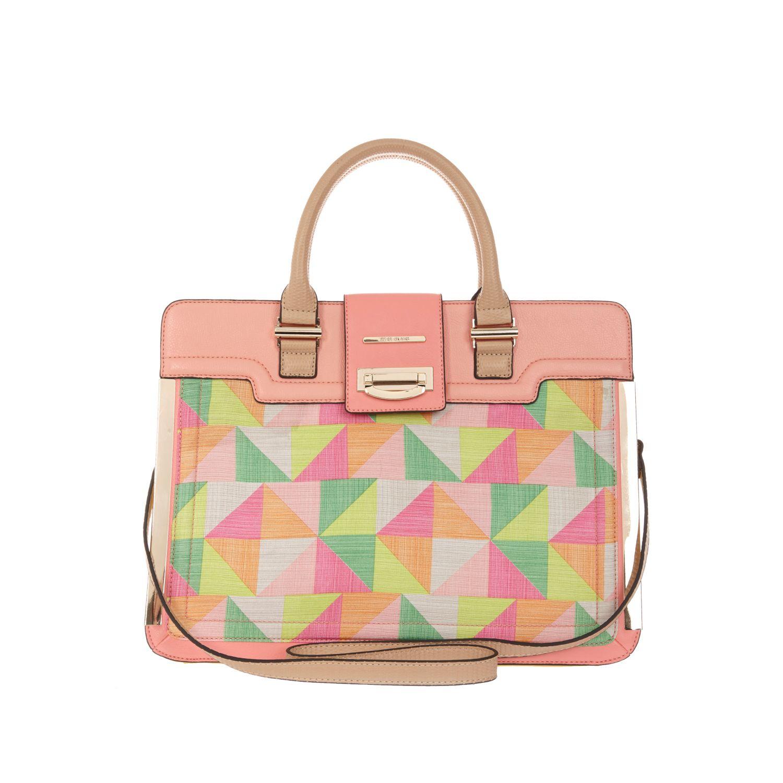 b6061fa259 River Island Pink Geometric Print Metal Trim Tote Bag in Pink - Lyst