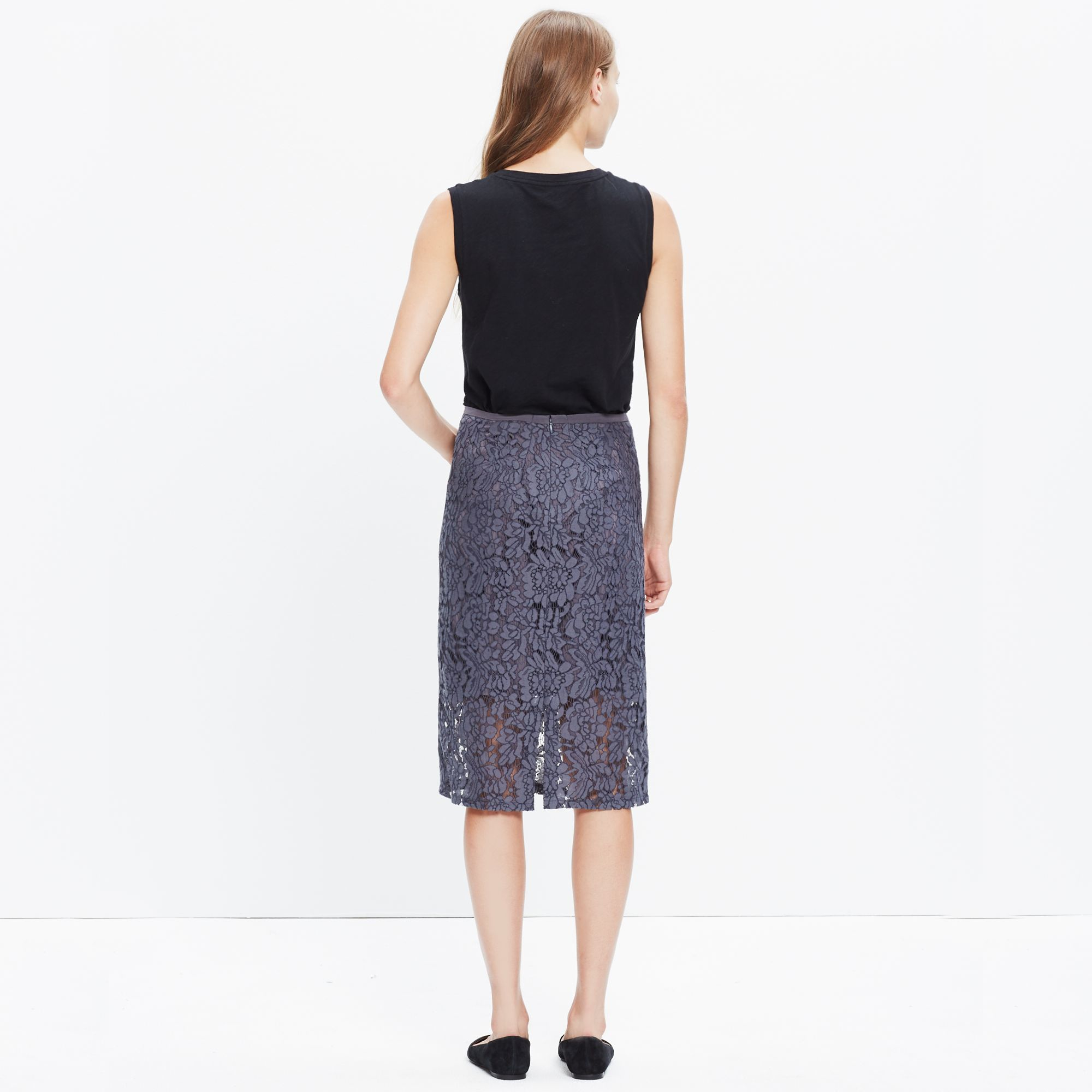 Lyst Madewell Lace Pencil Skirt In Gray
