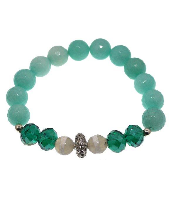 Mali Beads Emory Gemstone Beaded Bracelet With Cz Pave