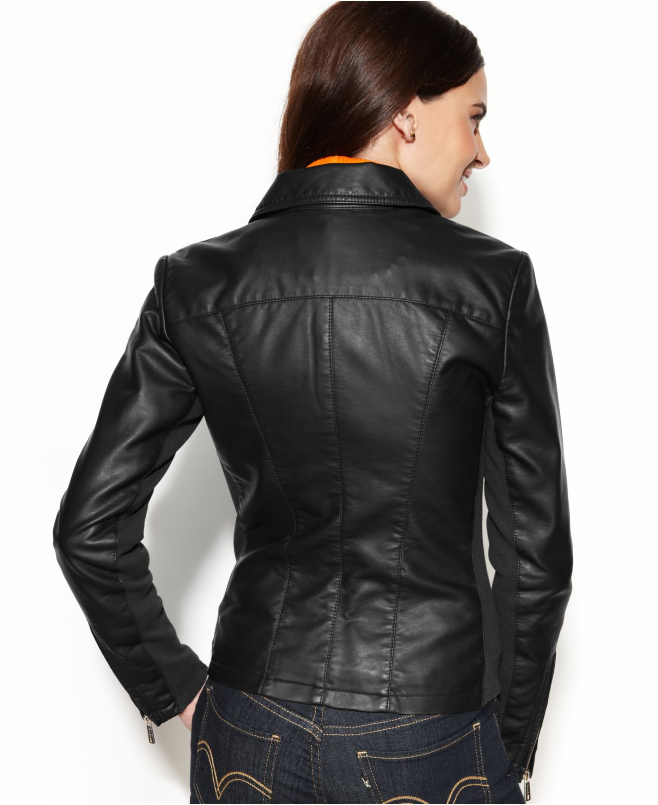 38863b331 Kenneth Cole Reaction Black Fauxleather Zipperedcuff Jacket