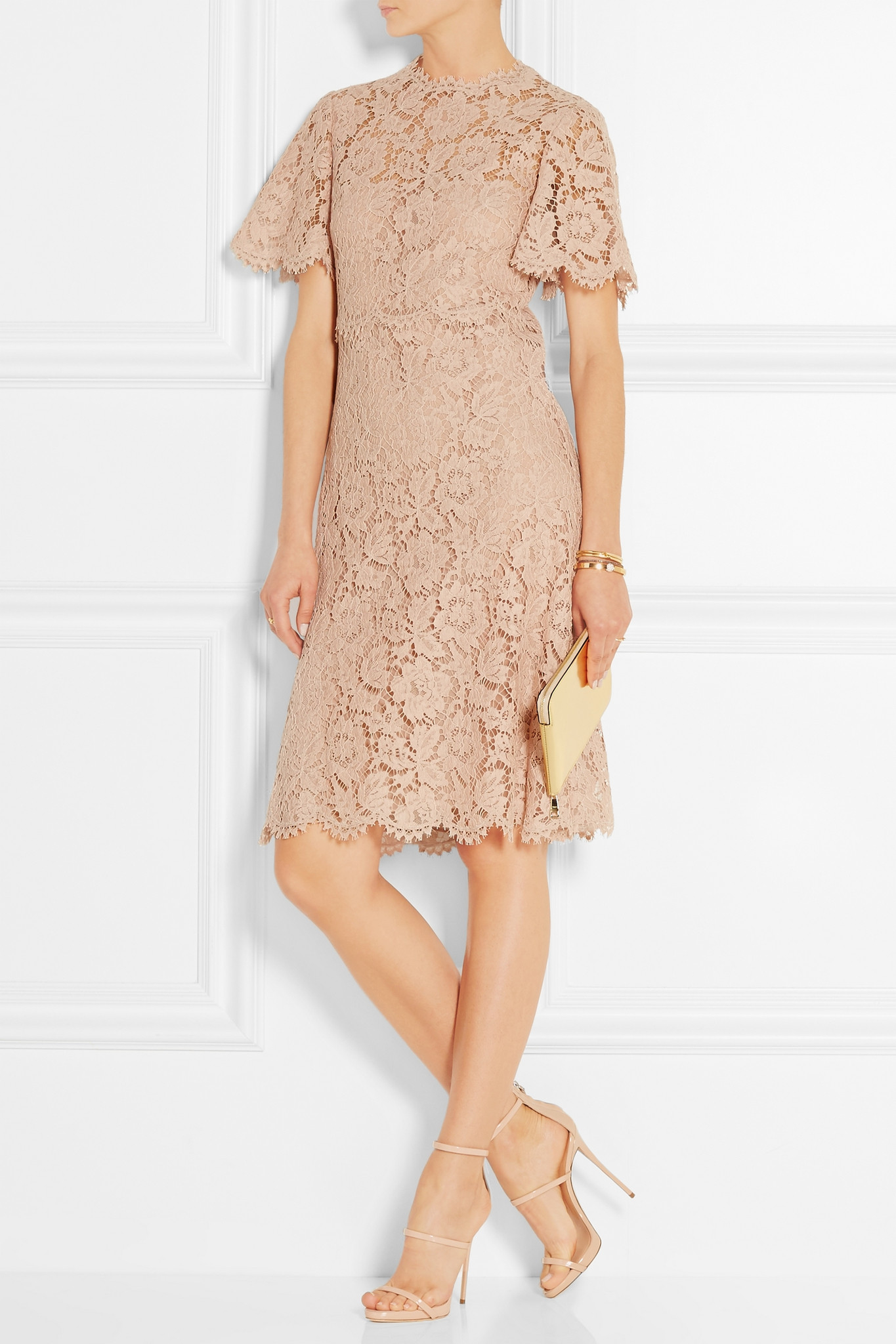 Lyst Valentino Cotton Blend Lace Dress In Blue