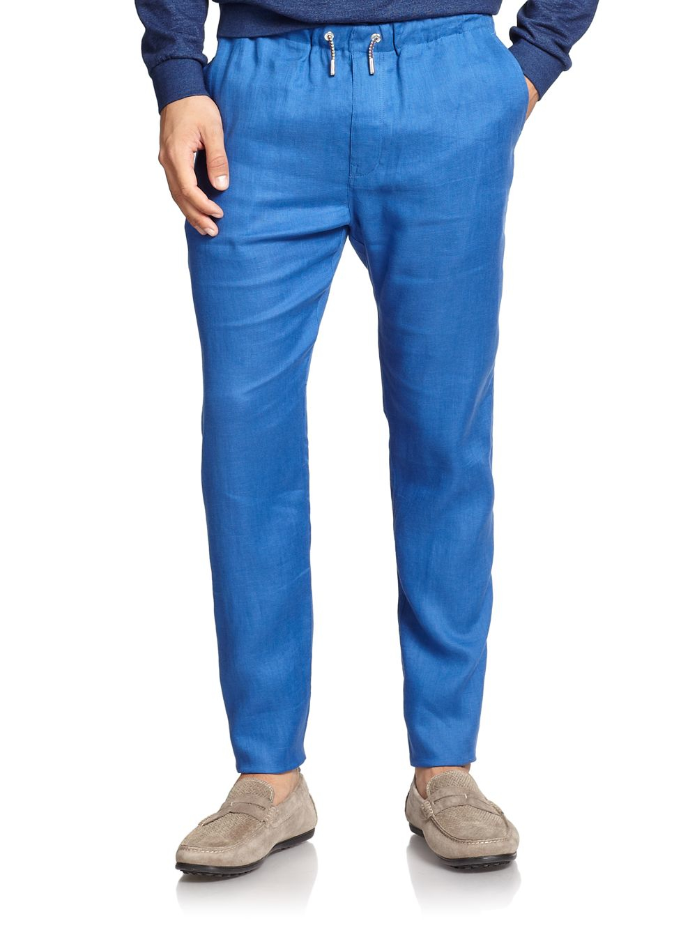 F. faconnable Linen Pants in Blue for Men | Lyst