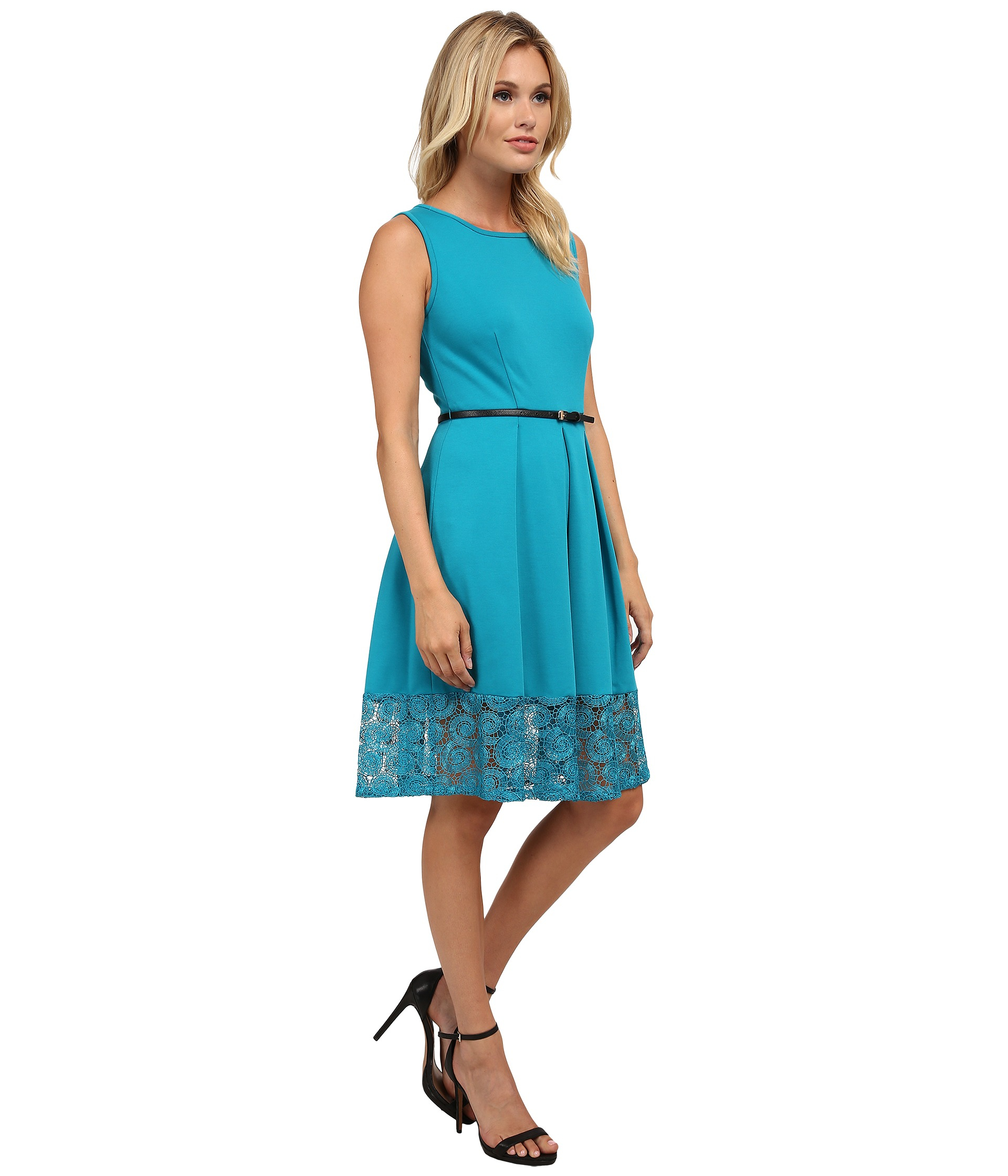 Lyst Calvin Klein Fit Amp Flare Dress W Lace Bottom In Green