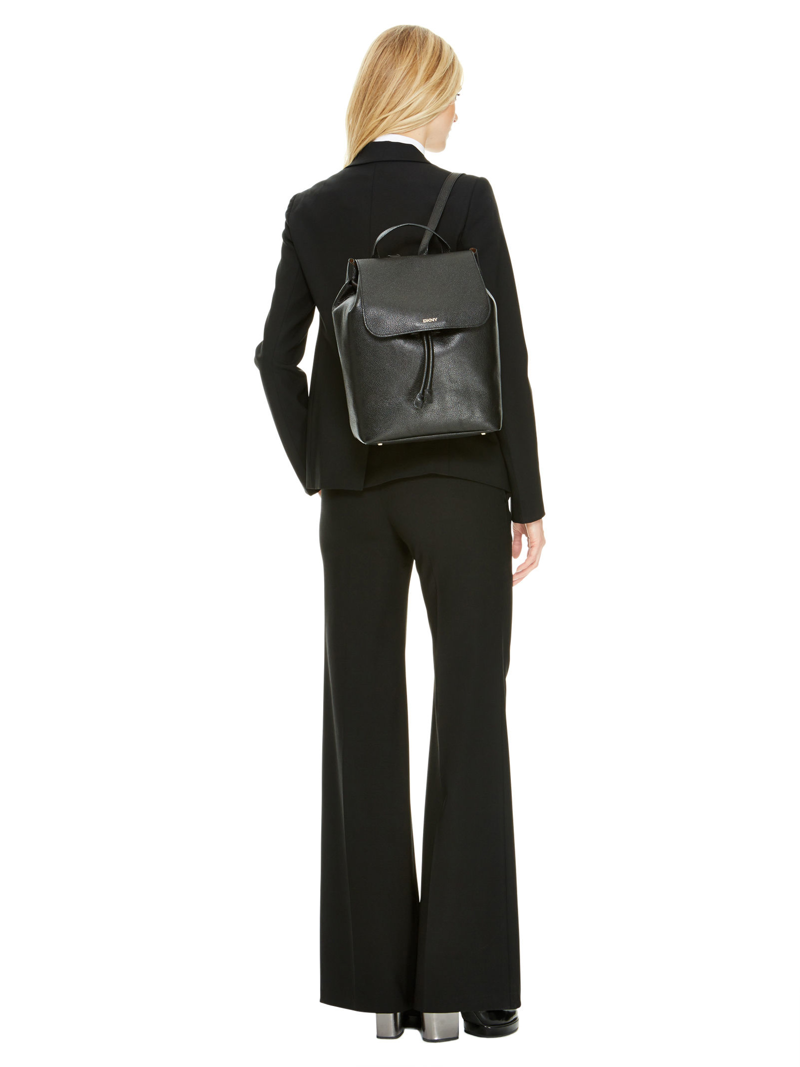 Dkny Fine Pebble Leather Backpack In Black Lyst