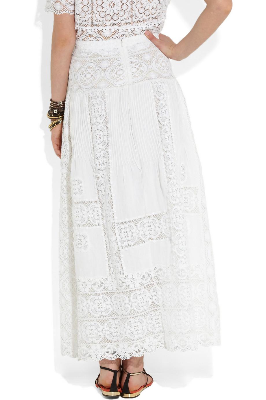 oscar de la renta lace and pleated linen maxi skirt in