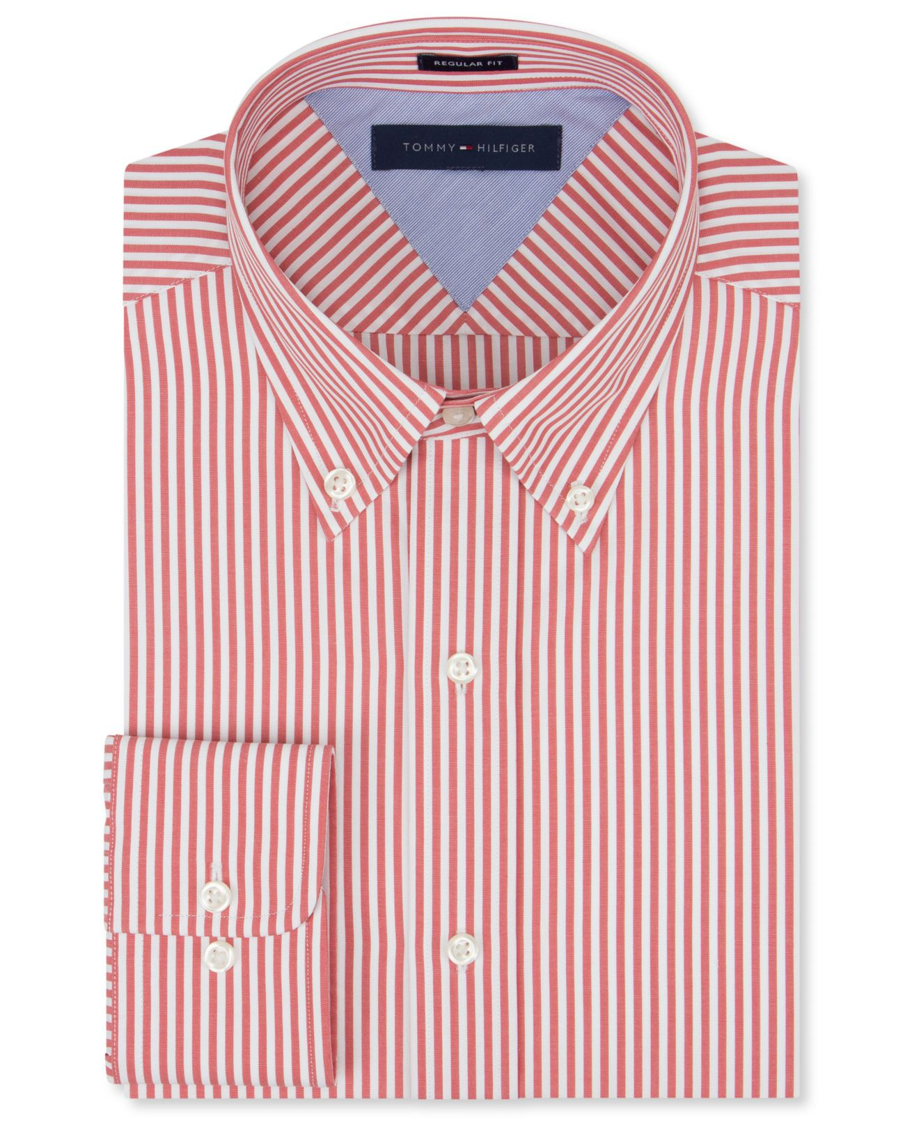 Lyst tommy hilfiger red bengal stripe dress shirt in red for Mens red and white striped dress shirt