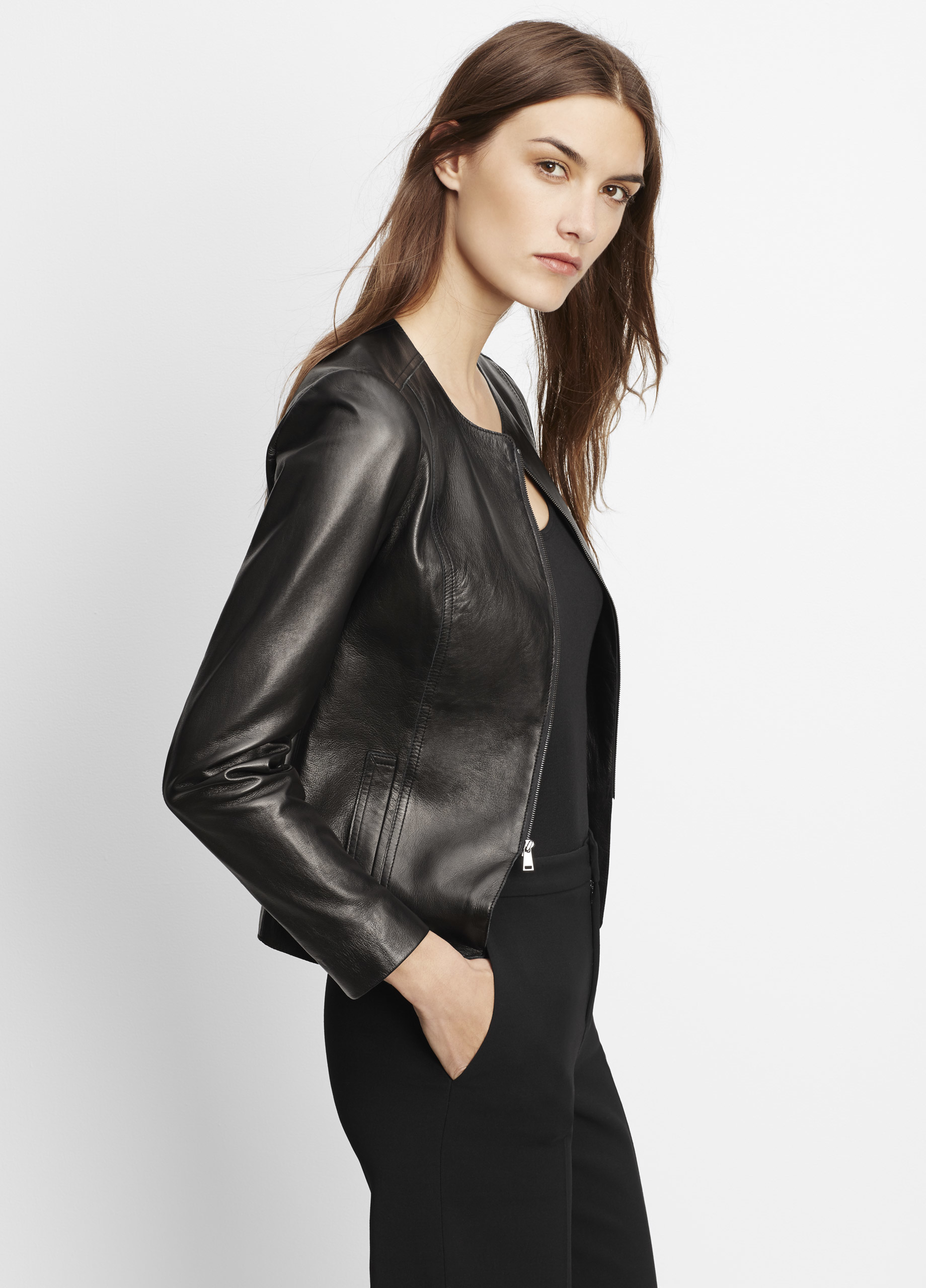 Vince Tailored Collarless Leather Jacket In Black Lyst