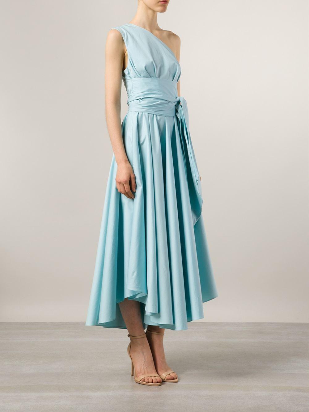 Tibi One Shoulder Flared Dress in Blue | Lyst