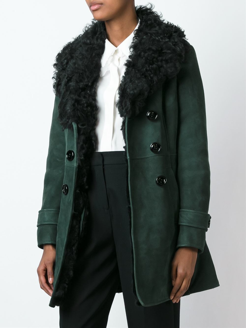 Red valentino Shearling Coat in Green | Lyst