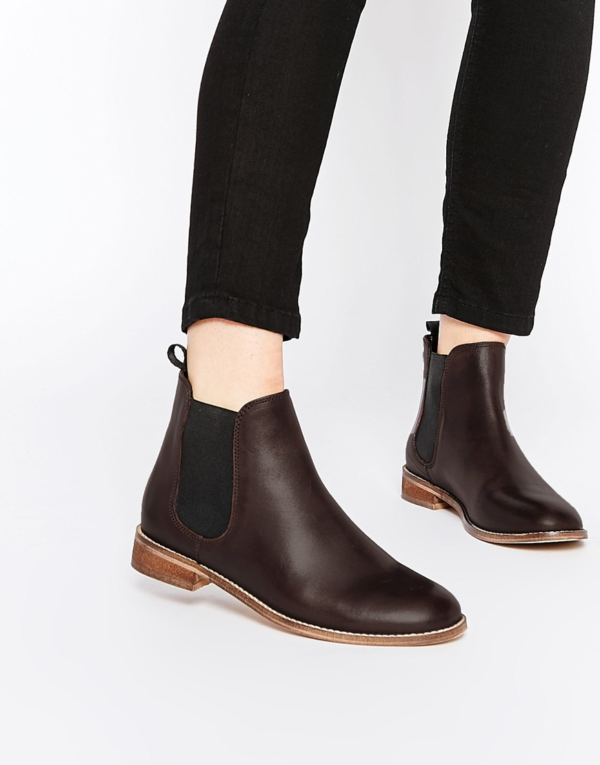 7cb7b04fb4a ASOS Purple Airbound Leather Chelsea Ankle Boots