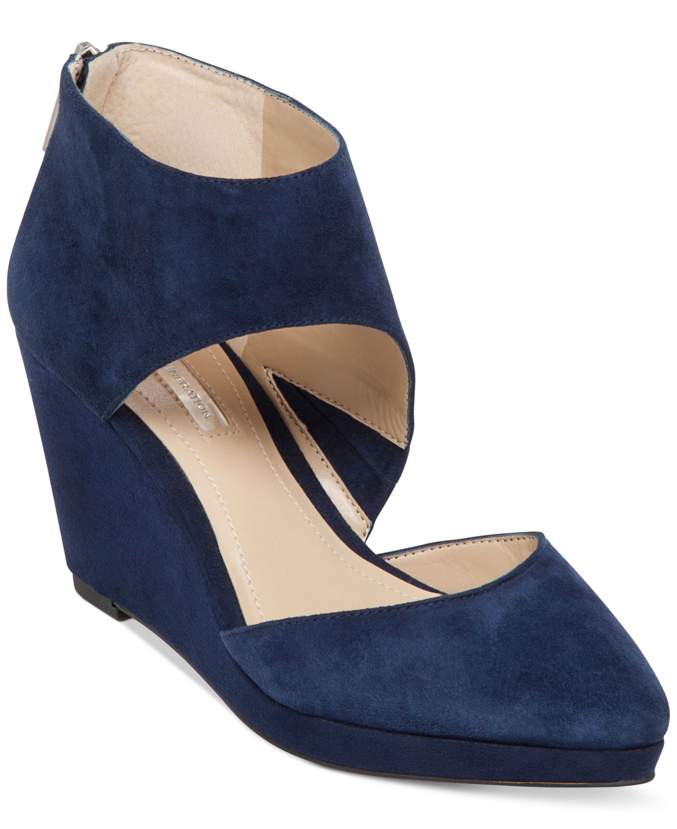 Bcbgeneration Millbook Suede Wedge Booties In Blue Lyst