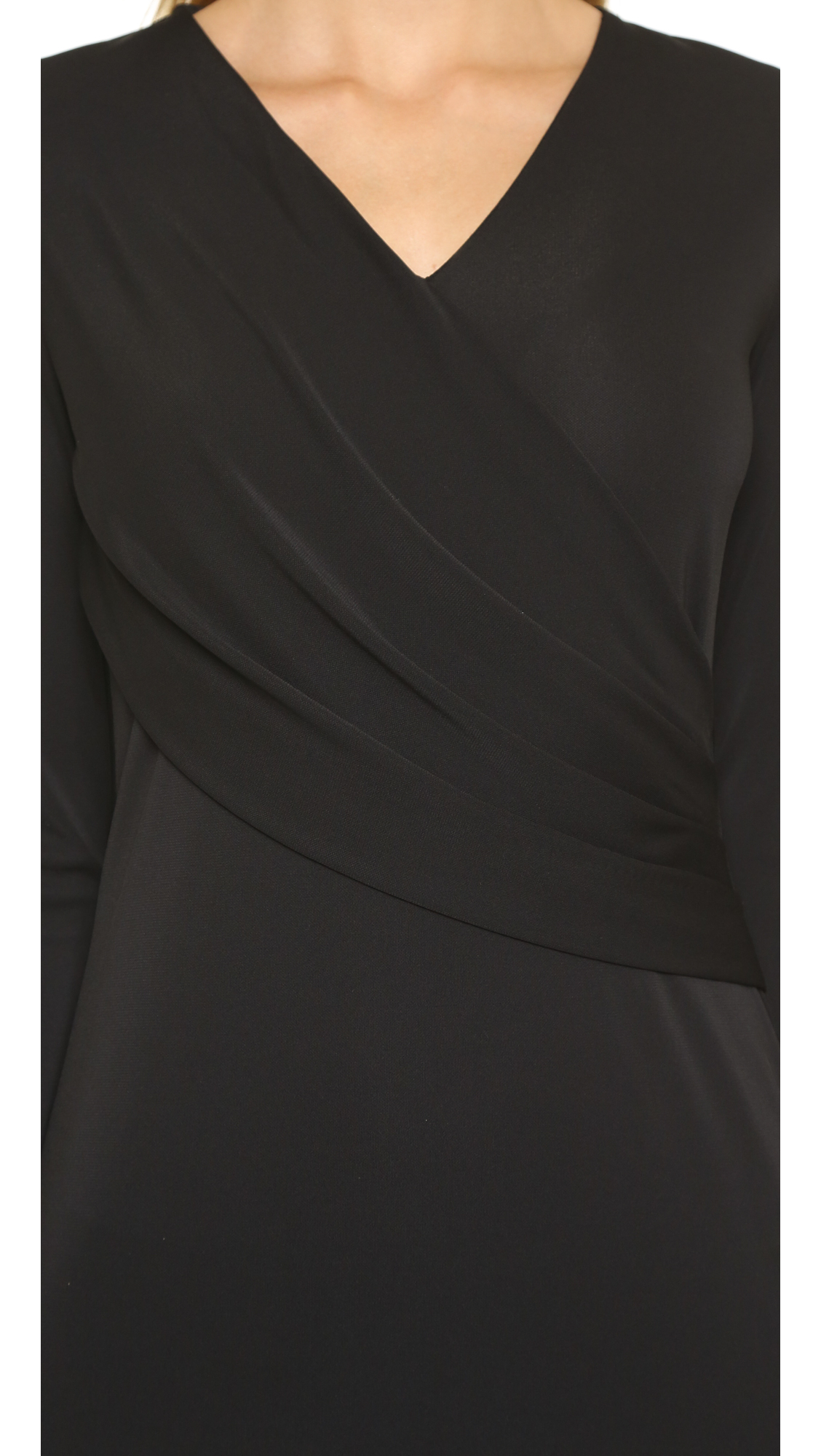 Dkny Long Sleeve Low V Neck Wrap Dress Black Lyst