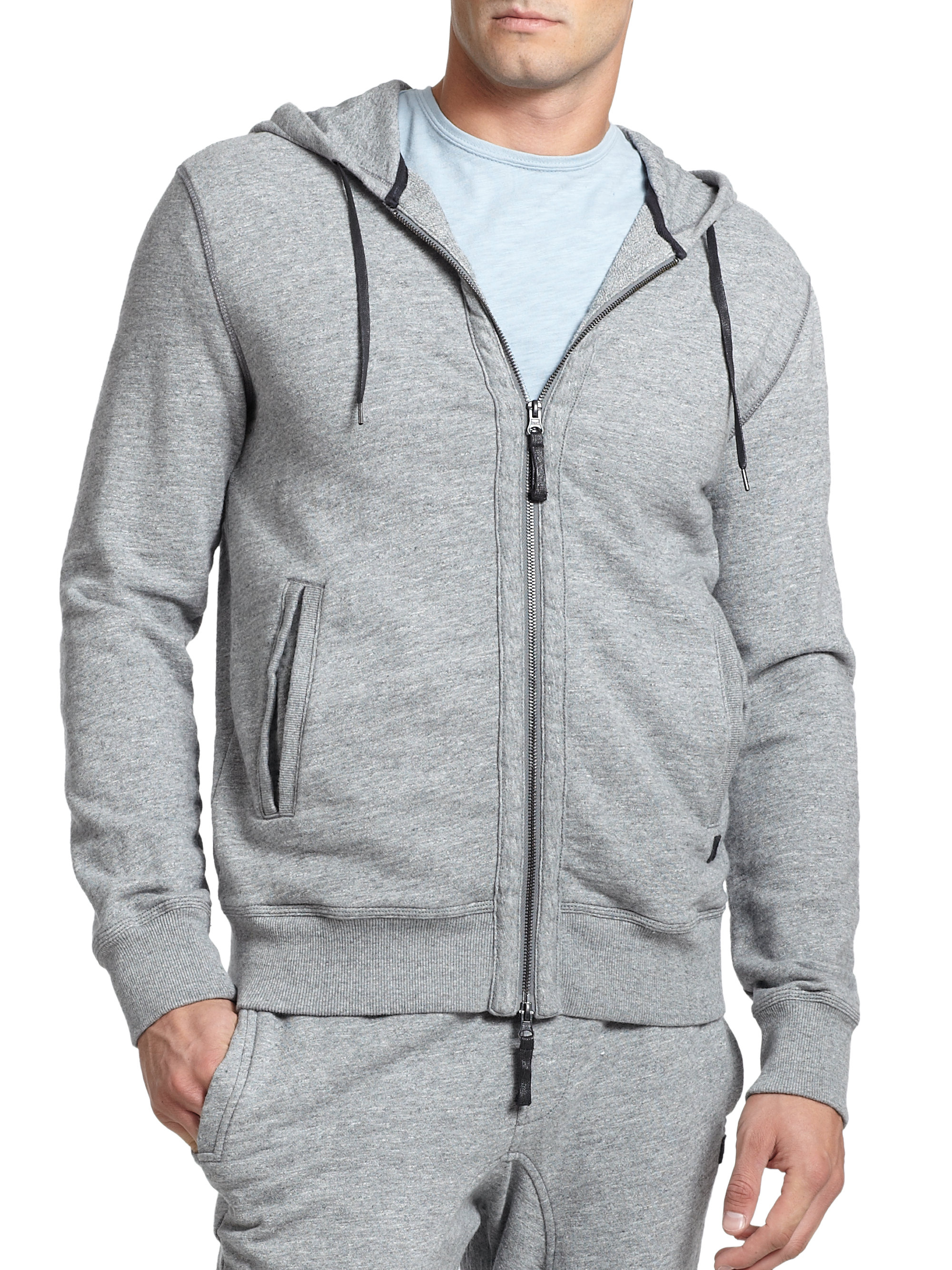 Madison supply Zip-up Hoodie in Gray for Men | Lyst