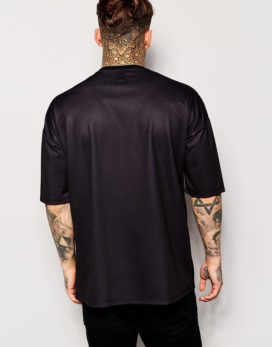 Asos Longline T Shirt With Print And Mesh Oversized Fit In