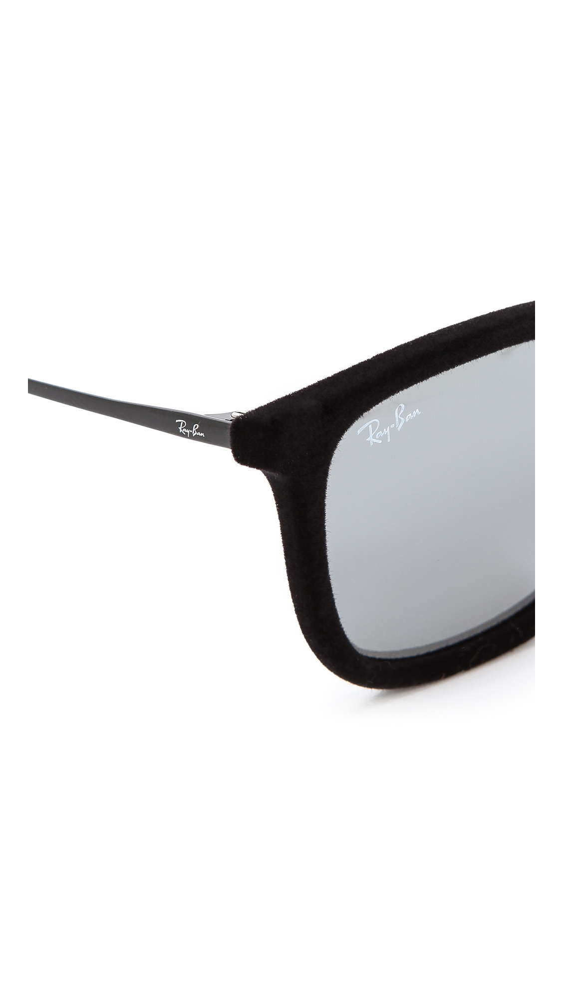 1b581445fd Ray-Ban Youngster Square Velvet Sunglasses - Flock Green in Black - Lyst