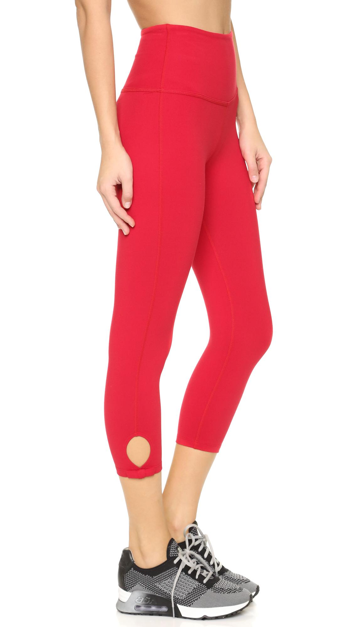 Red Capri Leggings - Trendy Clothes