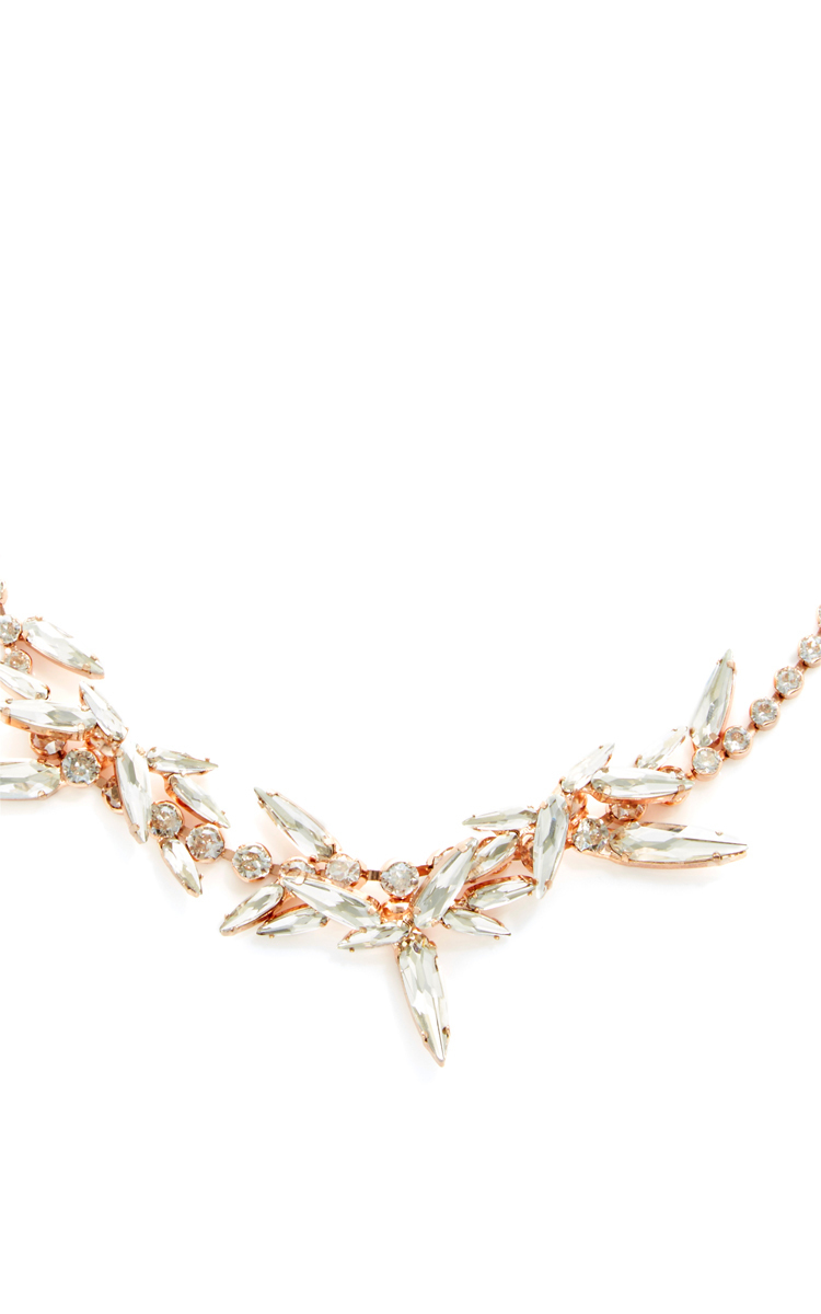 Ryan Storer Graduated Swarovski Crystal Chain Necklace With Thorn Crystal Details in Rose Gold (Pink)
