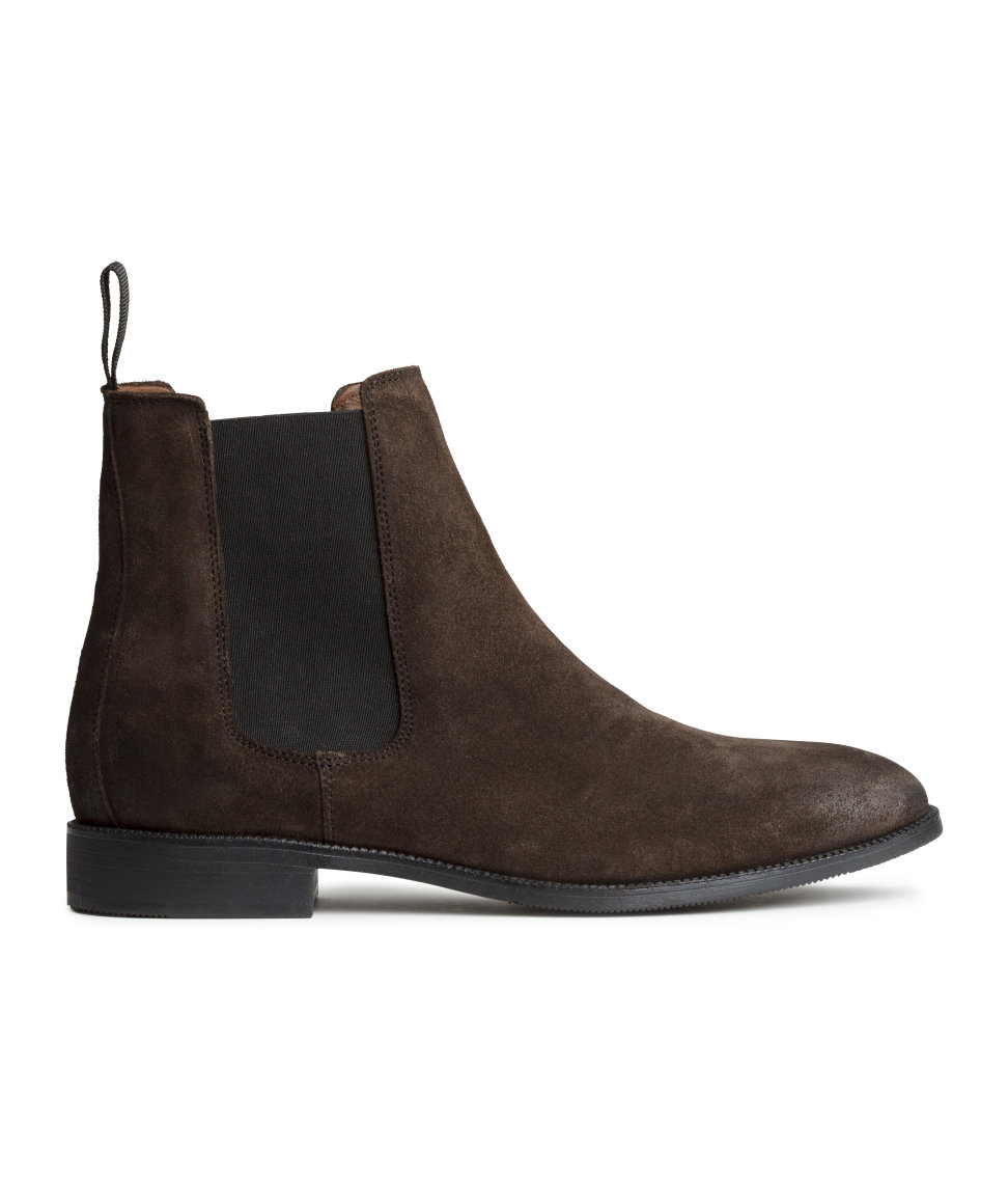 H&m Leather Chelsea Boots in Brown for Men