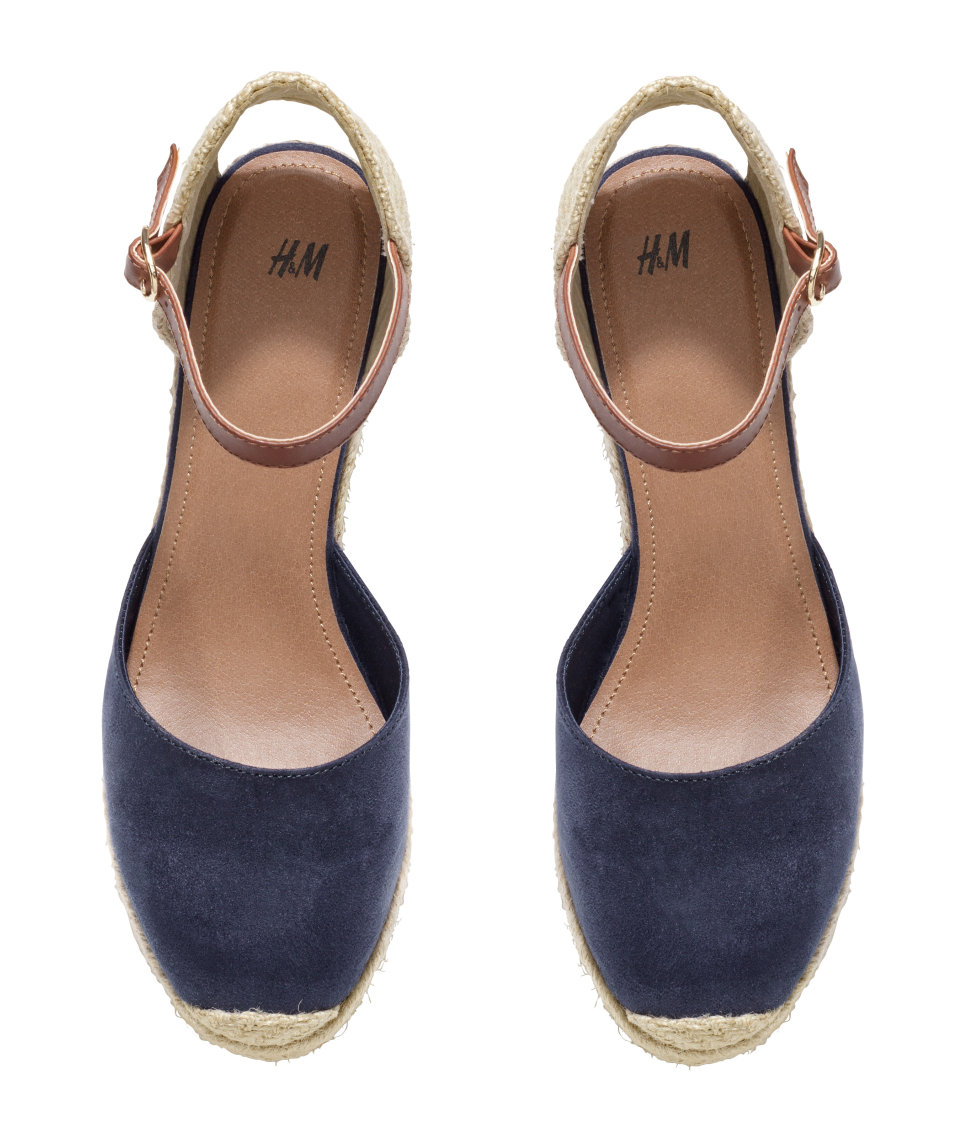 Lyst H Amp M Wedge Heel Espadrilles In Blue