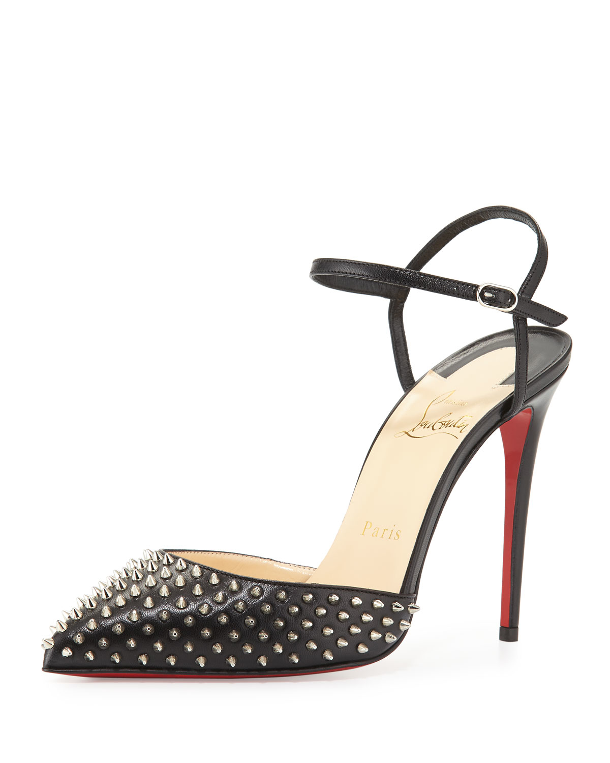 new style dd484 acee5 Christian Louboutin Black Biala Studded Leather D'Orsay Pumps