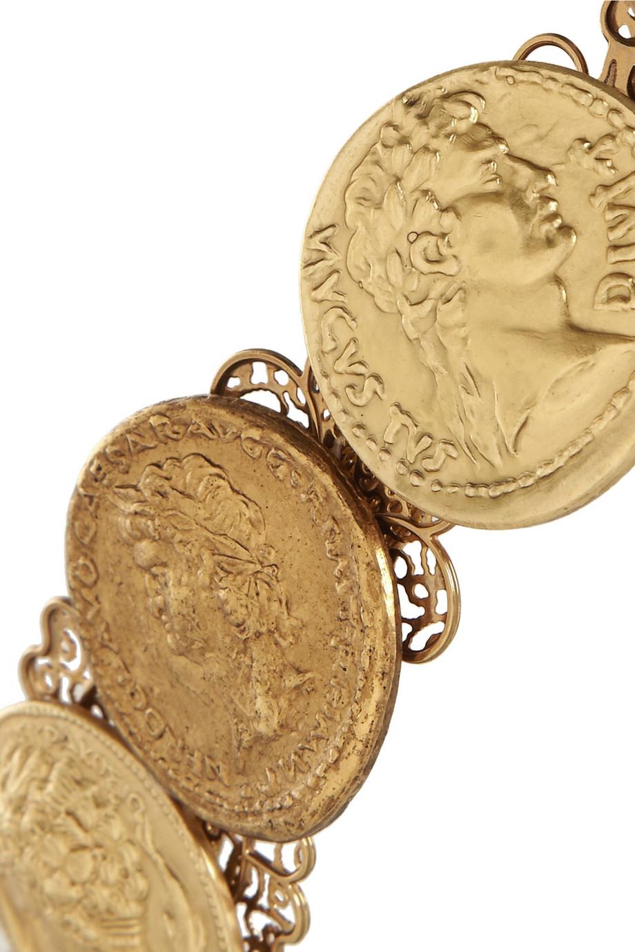 Lyst Dolce Amp Gabbana Goldtone Coin Headband In Metallic