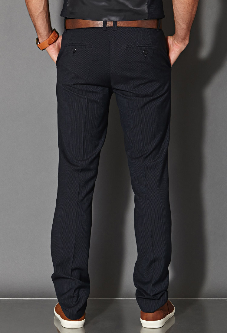 Forever 21 Synthetic Pinstripe Dress Pants In Navy Blue
