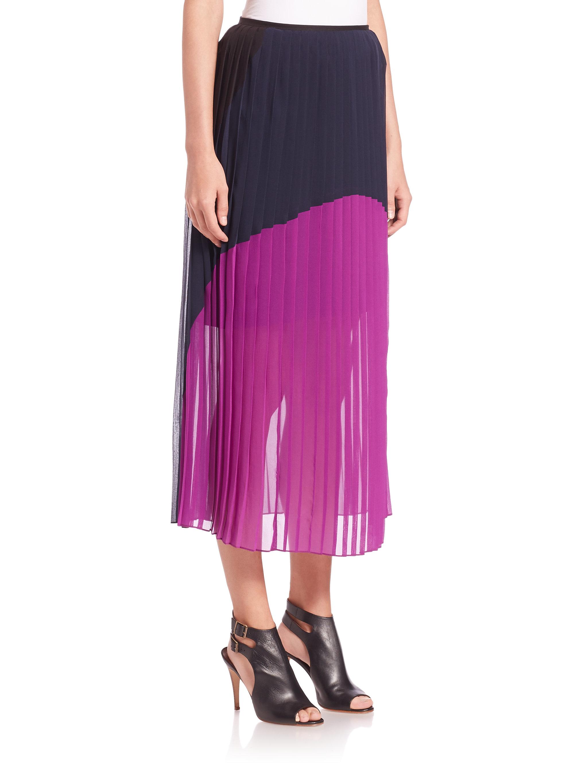 dkny silk colorblock pleated skirt lyst