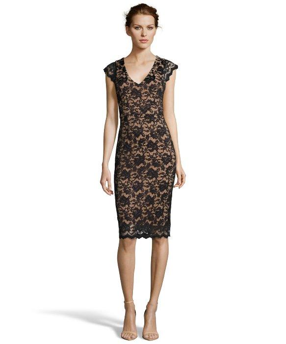 Abs by allen schwartz Black Stretch Lace V-neck Cap Sleeve Dress ...