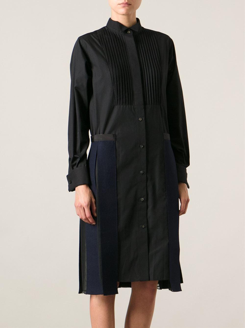 Sacai pleated shirt dress in black lyst for Black pleated dress shirt