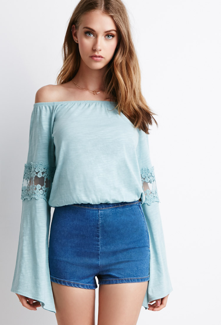 415179d99692af Forever 21 Embroidered Bell-sleeve Top You've Been Added To The ...