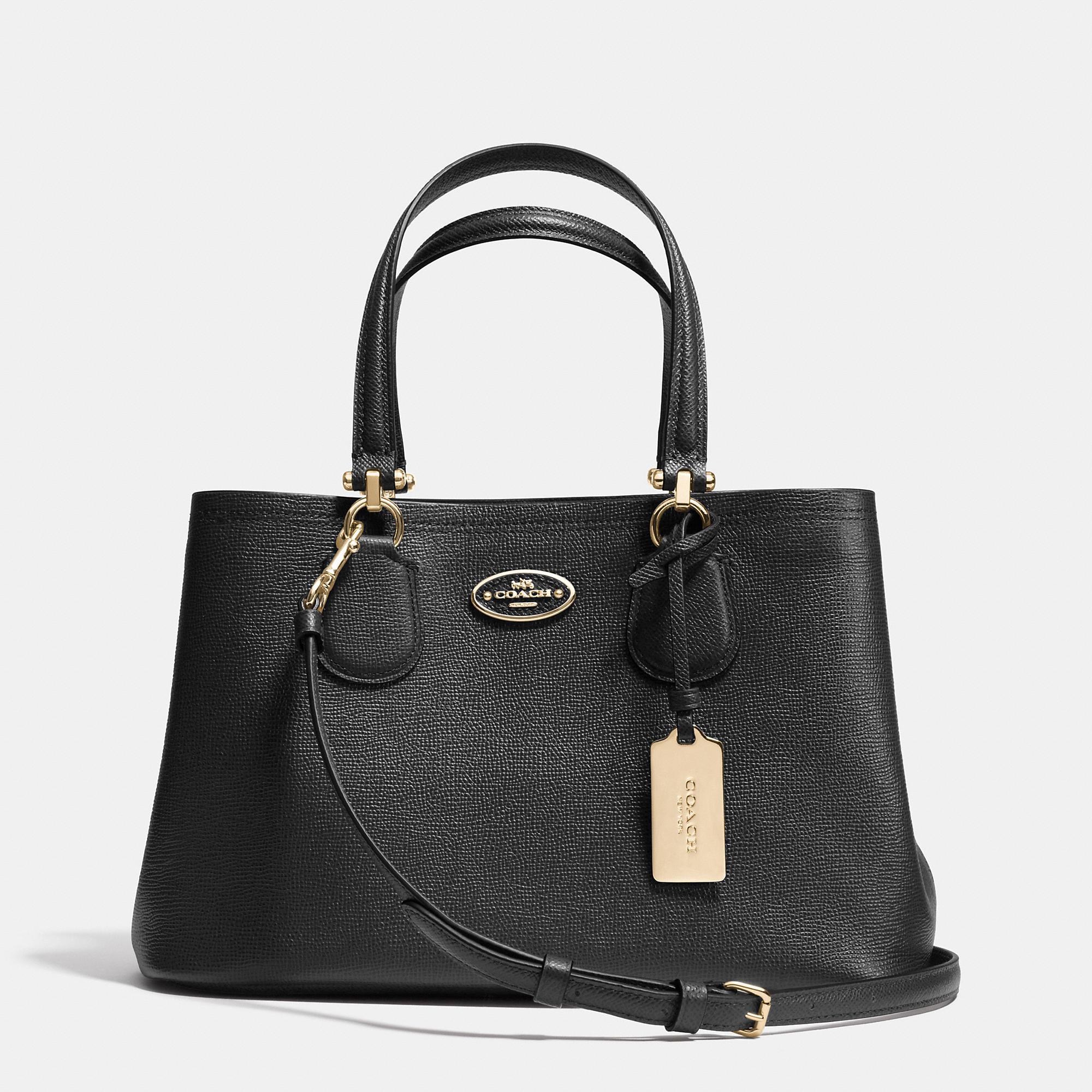 Bolsa Michael Kors Azul Marino : Coach small kitt carryall in crossgrain leather black