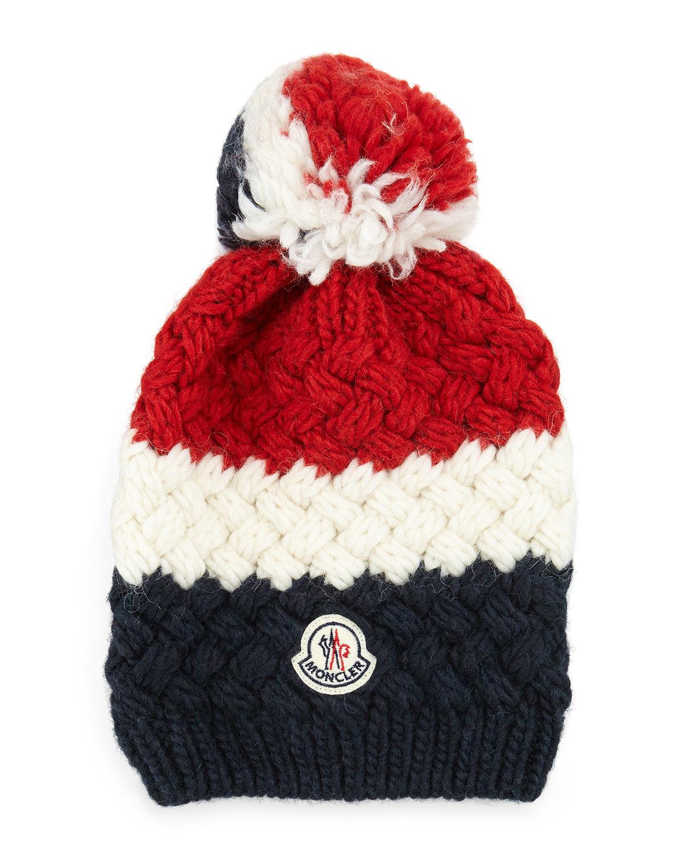 87cfa99bb Moncler Blue Cashmere Chunky-knit Pom-pom Hat for men