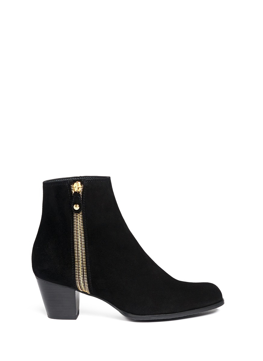 stuart weitzman zipzipzip suede zip up ankle boots in