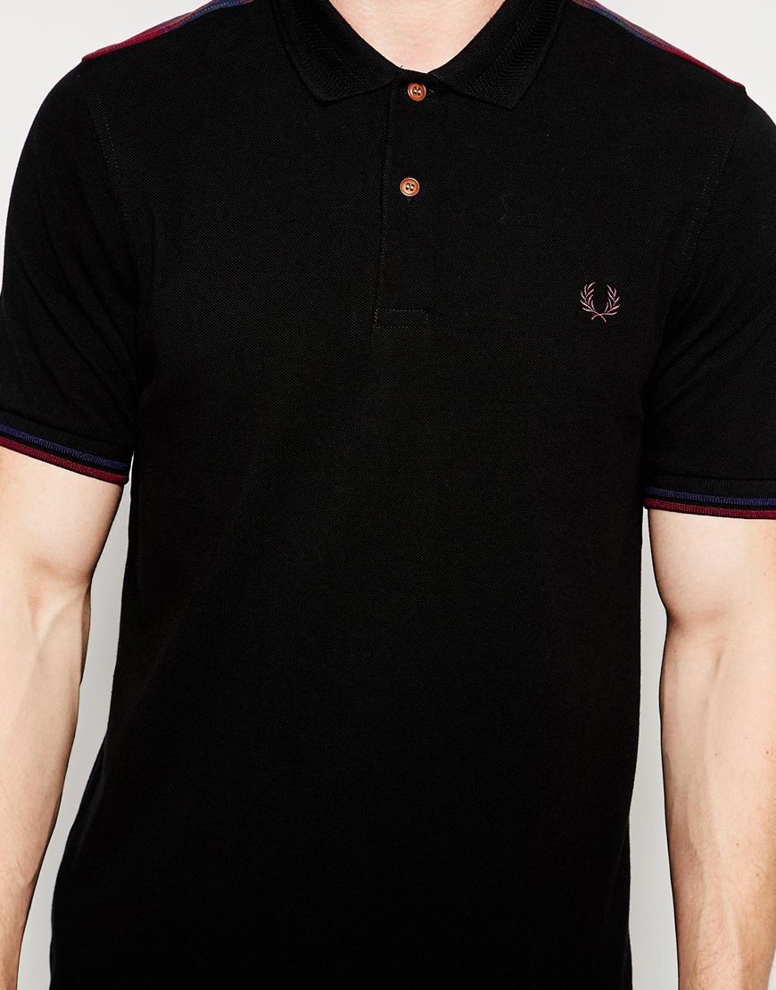 fred perry polo shirt with tartan panel in black in black. Black Bedroom Furniture Sets. Home Design Ideas