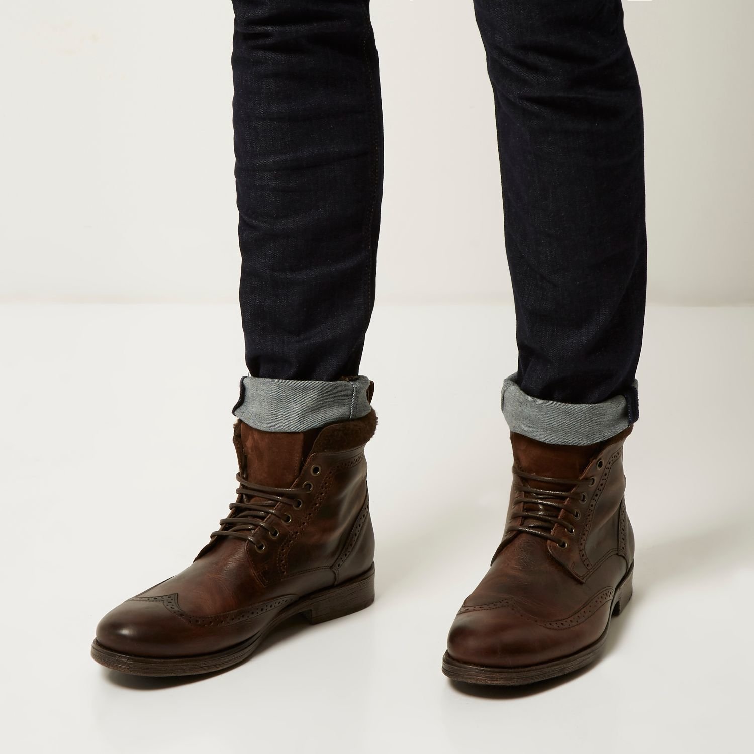 River island Brown Leather Brogue Worker Boots in Brown ...
